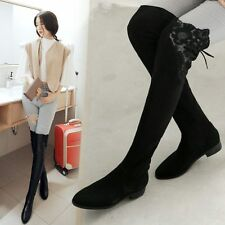 Size 5-10 Women's Sexy Lace Over Knee High Leg Long Boots Flat Heel Warm Shoes