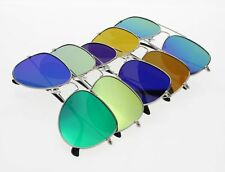 Unisex Pilot Aviator Retro Sunglasses Silver Frame Fashion Eyewear UV400