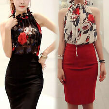 Women Sleeveless Summer High Neck Floral Pleated Tops Blouse Thanksgiving Day