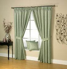 Luxury Woodland Jacquard Design Lined Pencil Pleat Tape Top Curtains, Sage Green
