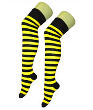 LADIES HALLOWEEN SPOOKY STRIPY NEON YELLOW TIGHTS HALLOWEEN FANCY DRESS COSTUME