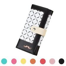 Women Purse Moustache Beard Print Long Wallet Ladies Phone Card Holder Chic S2WU