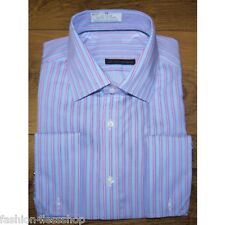 M&S MENS LUXURY SHIRT Pure Cotton Twin Striped OXFORD Shirt+DOUBLE CUFF RRP £45