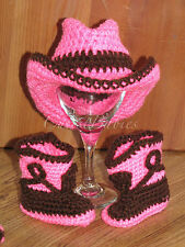 Newborn Baby Crochet Cowboy/ Cowgirl Hat & Boots Photo Prop.