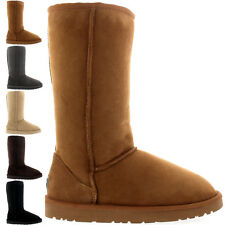 "Ladies 11"" Tall Twin Face Snow Suede Winter Australian Sheepskin Boots All Sizes"