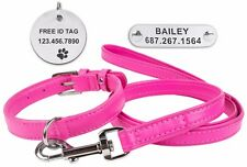 Pink Leather Dog Collar Free ID Tag Leash Set Soft Padded Small Medium Large