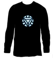 Black Men Women Long Sleeve Clubbing Light Up Sound Activated LED T-Shirt Cloth