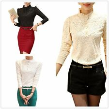 Stand Colloar Office Lace Sexy Elegant Women Slim Business Tops Blouses Shirt