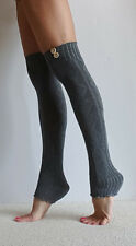 Sexy New Heather Grey Leg Warmers Boot Cuffs w/ buttons & diamond pattern yoga