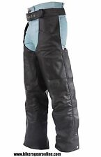 MEN'S MOTORCYCLE BLACK LEATHER RIDING CHAP PANTS BRAIDED COW HIDE LEATHER NEW