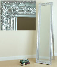 Portland Cheval Shabby Chic Free Standing Roccoco Long Mirror Silver 17