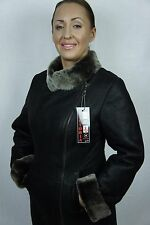 BROWN 100% REAL GENUINE SHEEPSKIN SHEARLING LEATHER COAT JACKET, XS-6X