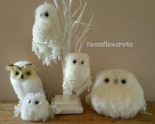 Indoor Enchanted Christmas Tubby Owls Glistening Snowy Owl Statue Decoration