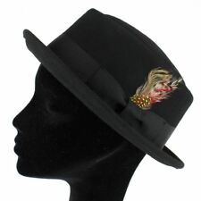 BLACK PORK PIE HAT WITH FEATHER 100% WOOL FELT HANDMADE 4 Sizes