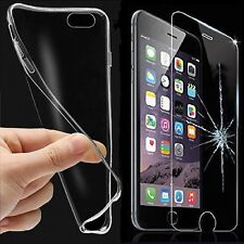 Phones Transparent Silicone Case Cover Skin + Tempered Glass Screen Protector