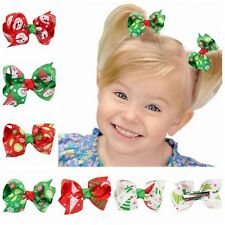 2X Baby Girl Kid Boutique Grosgrain Ribbon Colorful Bow Hair Clip Xmas Gift Hot