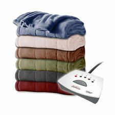 Sunbeam Fleece Electric Heated Blanket Queen Full Twin Size ASSORTED Colors NEW