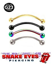 """1PC. 16G~9/16"""" G23 Titanium Anodized Curved Barbell Tongue Snake-Eyes Piercing"""