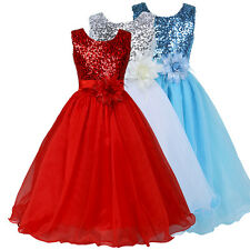 Flower Girl Kids Princess Pageant Wedding Bridesmaid Party Formal Dress For 7~12