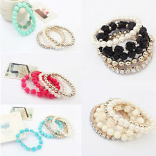 Fashion Mix Beads Stretch Bracelet Temperament Alloy Resin Rhinestone Bangle