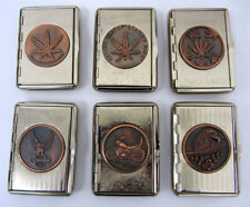 Cannabis Leaf Print Metal Tobacco Tin Box Pocket Embossed Cigarette Case Steel