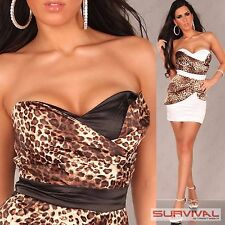 Womens Cocktail Dress Size 8 10 12 14 Sexy Strapless Party Evening Leopard Print