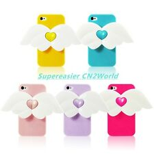 Phone Cases For iPhone 4 4S 3D Cute Cupid Angel Wing Heart Glossy TPU Cover Skin