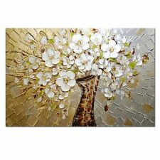 Oil Painting White flowers Abstract Wall Picture Modern Home Decor Art Large