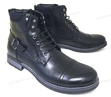 NIB Men's Ankle Boots Military Combat Style Lace Up Side Zipper Army Shoes Sizes