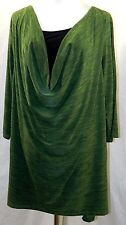 SUZIE IN THE CITY WOMEN PLUS SIZE 1X 2X 3X BLACK GREEN MELANGE TUNIC TOP BLOUSE
