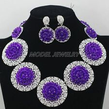 Unique Statement Women Necklace Set,Bridal Wedding Jewelry Gold Plated Crystal