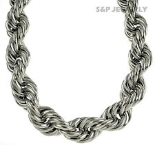 "RUN DMC 14 & 16 & 25 & 30mm HOLLOW RHODIUM THICK ROPE 36"" NECKLACE DOOKIE CHAIN"