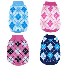 Small Pet Dog Cat Warm Lattice Knit Clothes Sweater Puppy Coat Apparel Lot Sizes