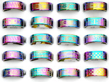 36/60Pcs Wholesale Jewelry Lots Men's Multicolors Stainless Steel Band Rings