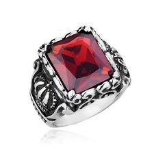 316L Stainless Steel Fashion Mens Crown Red Cubic Zirconia Stone Ring Size 7-12