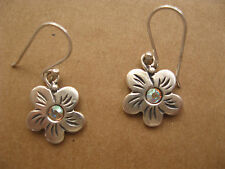 Beautiful Silver Flower Earrings, Sterling and Crystal Dangle Charm Jewelry