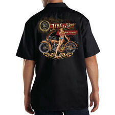 Dickies Black Mechanic Work Shirt Jive The Legend Motorcycle Biker Pin Up Girl