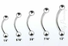 "1pc. 16G~1/4"", to 1/2"" 316L Surgical Steel Curved Eyebrow Ear Tragus Barbell"