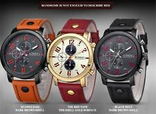 CURREN Fashion Mens Leather Analog Three Eyes Quartz Sport Wrist Watch