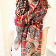 New Lady Red Vintage Women Long Soft Cotton Voile Print Scarves Shawl Wrap Scarf
