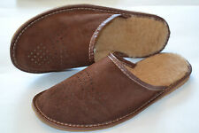 Mens Suede Brown Leather With Wool Slippers Shoes Sandal Handcrafted In Poland