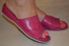 Womens Ladies Pink Leather High Heel Slippers Shoes Sandal Handmade Soft New