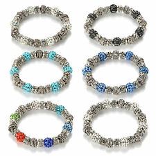 Fashion Gift Crystal Rhinestone Disco Ball Beads Sliver Plated Alloy Bracelets