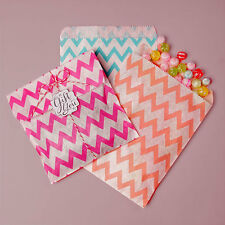 """100 Chevron Striped Flat Bags 5 1/8 x 6 3/8"""" Candy Favor Paper Party Treat Safe"""