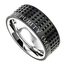 Black Stainless Steel Bible Verse Ring, Matthew 5:8 PURITY, Modern Style