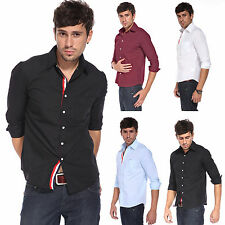 Mens Casual Shirts Slim Fit Cotton Long Sleeves Shirts Casual Formal Dress