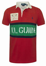 RALPH LAUREN MENS RED CUSTOM FIT RUGBY POLO SHIRT 'RL GUIDE'