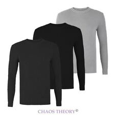 Mens Tight Ribbed Crew Neck Knitted Jumper Fashion Knit Sweater Pullover S-XL