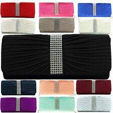 UK NEW Ladies Satin Clutch Diamante Womens Bag Party Prom Bridal Evening Handbag