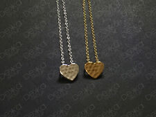 925 Sterling Silver /18K Gold Love Heart Necklace Hammered Beaten Pendant
